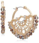 lonna & lilly Gold-Tone Pavé Beaded Filigree Hoop Earrings