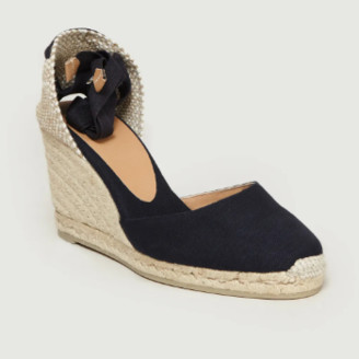 Castaner Navy Blue Jute and Leather Carina Wedge Espadrille Sandal - navy blue | Jute/Leather | 35 - Navy blue