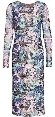 STAUD Amelia Tropical Print Midi Bodycon Dress