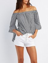 Charlotte Russe Gingham Off-The-Shoulder Bell Sleeve Top