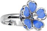 Body Candy Blue Enamel Five Petal Blooming Flower Adjustable Ring