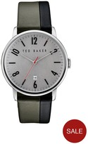Ted Baker Grey Date Dial Two Tone Leather Strap Mens Watch