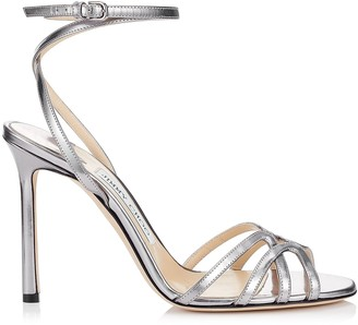 Jimmy Choo MIMI 100 Anthracite Metallic Nappa Leather Wrap Around Sandals
