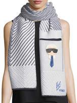 Fendi Karlito Cashmere-Blend Striped Pocket Scarf