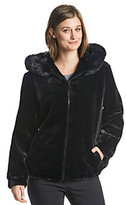 Gallery Hooded Microgroove Blouson Faux Fur Coat