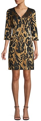 Trina Turk Eastern Luxe Muni Jacquard Metallic Sheath Dress