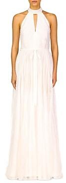 ML Monique Lhuillier Keyhole Halter A-Line Gown