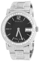 Gucci Diamond YA101305 Stainless G 101M 40mm Fully Iced Band Watch