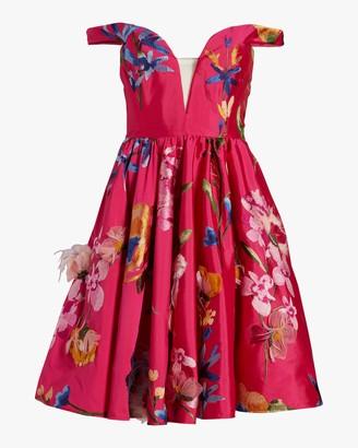 Marchesa Embroidered Off-Shoulder Cocktail Dress