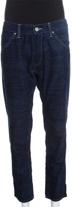 Isabel Marant Etoile Dark Blue Tiger Striped Corduroy Cropped Trousers L