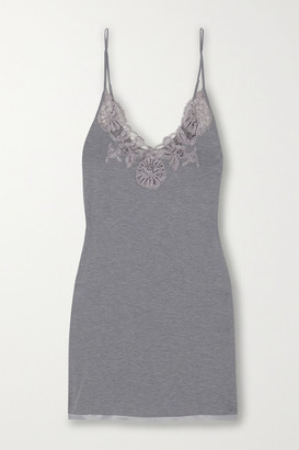 I.D. Sarrieri Lace And Satin-trimmed Modal-blend Chemise - Light gray