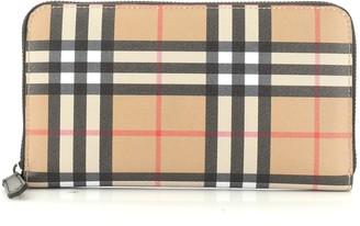 Burberry Zip Around Organizer Wallet Vintage Check Canvas