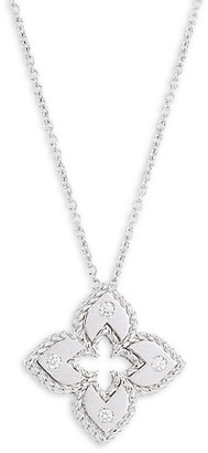 Roberto Coin Petite Venetian Extra-Small 18K White Gold & Diamond Pendant Necklace