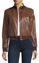 Halston Leather Bomber Jacket