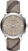 Burberry Watch, Men's Swiss Chronograph Smoke Check Fabric Strap 42mm BU9361
