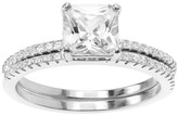 Journee Collection 1 CT. T.W. Square-cut Cubic Zirconia Wedding Prong Set Ring Set in Sterling Silver - Silver