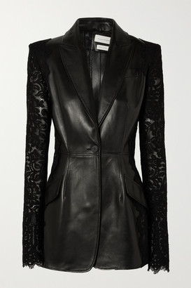 Alexander McQueen Lace-paneled Leather Blazer - Black