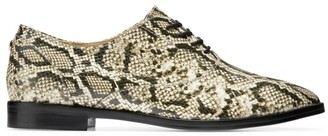 Cole Haan Python-Print Leather Oxfords