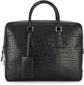 Prada embossed laptop bag