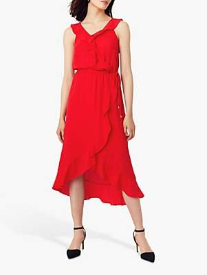 Oasis Ruffle Wrap Skirt Midi Dress, Mid Red