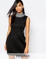 Rare London Mini Dress with Crystal High Neck