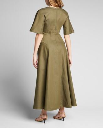 Lela Rose Stretch Denim Seamed Midi Dress