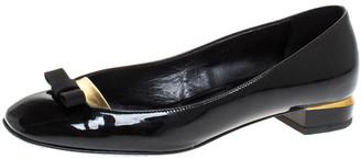 Fendi Black Patent Leather Bow Ballet Flats Size 37