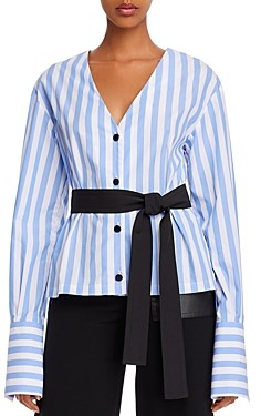 Yigal Azrouel Belted & Striped Cotton V-Neck Shirt
