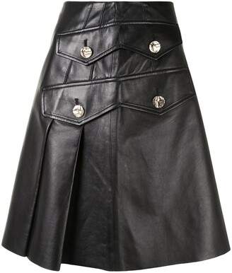 Proenza Schouler Button-Embellished Pleated Leather Skirt
