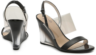 Mix No. 6 Women's Bryden Wedges Sandals Black Size 5 Faux Leather / Lucite From Sole Society