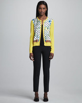 Dolce & Gabbana Floral & Dot-Print Cardigan, Yellow