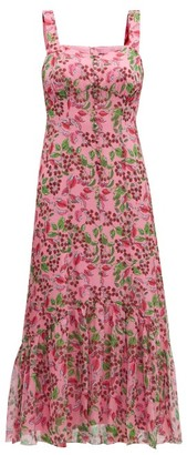 Saloni Joel Floral And Berry-print Silk Midi Dress - Womens - Pink Multi