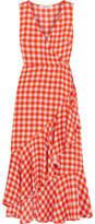 Diane von Furstenberg Ruffled Gingham Stretch-silk Wrap-effect Midi Dress - Red