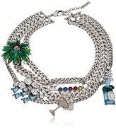 "Marc Jacobs Resort 2016"" Blue Multi-Cloudy Bubbles Statement Chain Necklace, 16"" + 2.75"" Extender"