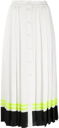 Karl Lagerfeld Paris Striped Hem Pleated Skirt