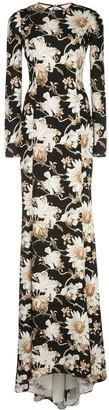 Oscar de la Renta Floral-Print Train-Hem Gown