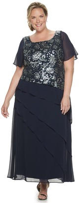 Le Bos Women's Plus Size Embroidered Popover Long Tiered Dress
