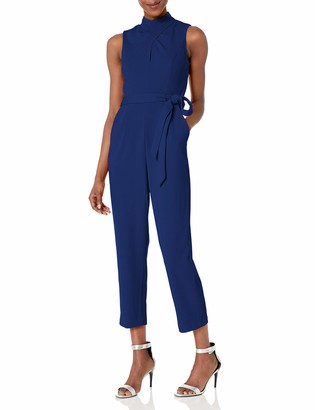 Calvin Klein Women's Cross Front Cropped Jumpsuit with Self Belt