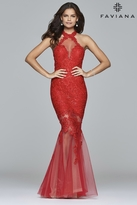 Faviana s7971 Long sequined lace dress with halter-neck and tulle skirt