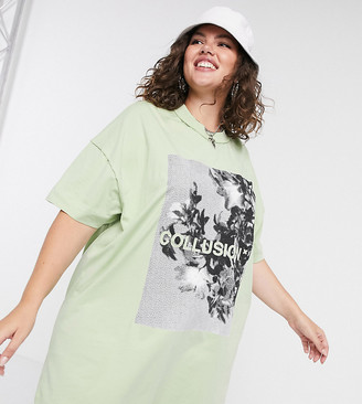 Collusion Plus exclusive t-shirt dress with monchrome print in green
