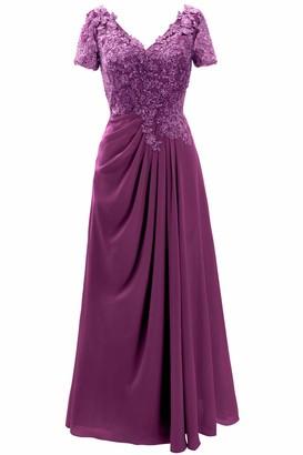 MACloth Women V Neck Short Sleeve Lace Chiffon Long Wedding Mother Bride Dresses (18