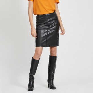 Vila Vipen Knee Length Pencil Skirt in Faux Leather