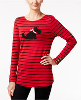 Charter Club Striped Beaded Dog Graphic Top, Only at Macy's