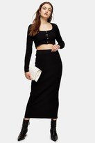 Topshop Womens Black Midi Knitted Skirt - Black