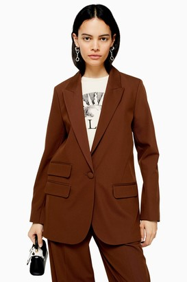 Topshop Womens Brown Single Breasted Blazer - Chocolate