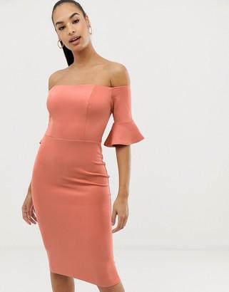 Club L London bardot sleeve detail bodycon dress-Pink