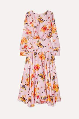 Galvan Majorelle Gathered Floral-print Plisse-satin Midi Dress - Baby pink