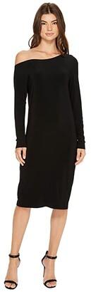 KAMALIKULTURE by Norma Kamali Long Sleeve Drop Shoulder Dress (Black) Women's Dress