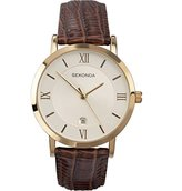 Sekonda Men's Quartz Watch with Dial Analogue Display and Brown Leather Strap 3478.27