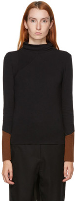 Kim Matin Black and Brown Colorblock Turtleneck